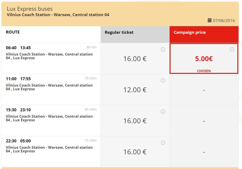 Вільнюс-Варшава: дешеві квитки від 5 євро (LuxExpress)