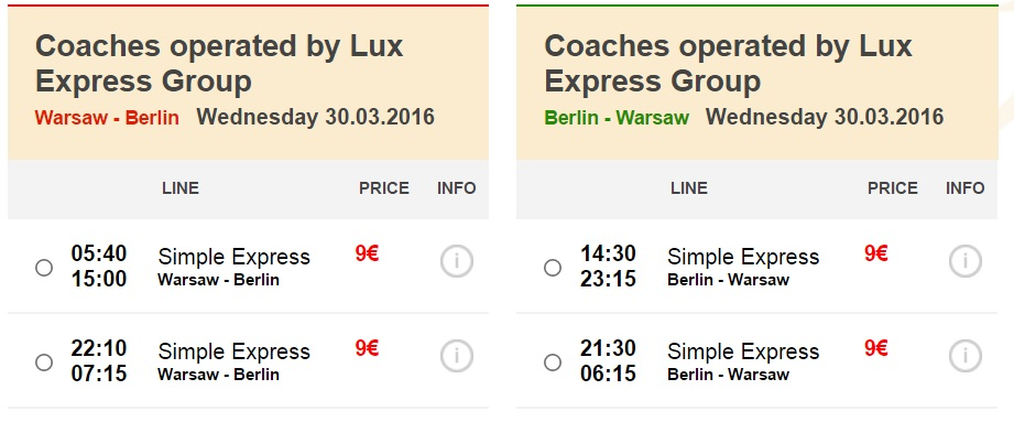 Розпродаж автобусних квитків - з Варшави до Берліна і назад