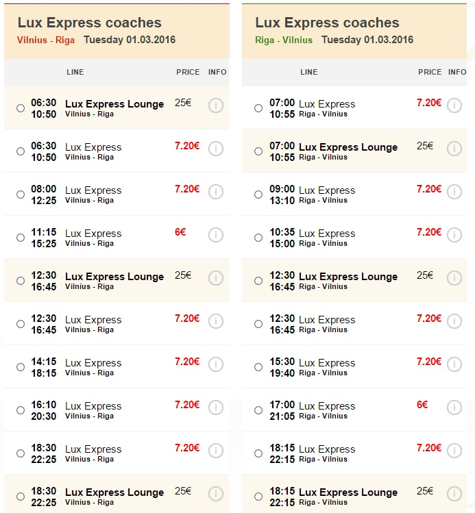 Розпродаж автобусних квитків - з Вільнюса до Риги і назад