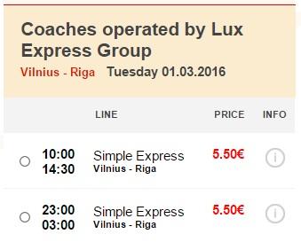 Распродажа автобусных билетов - из Вильнюса в Ригу