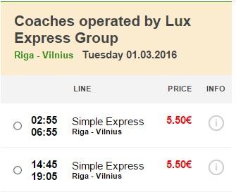 Розпродаж автобусних квитків - з Риги до Вільнюса