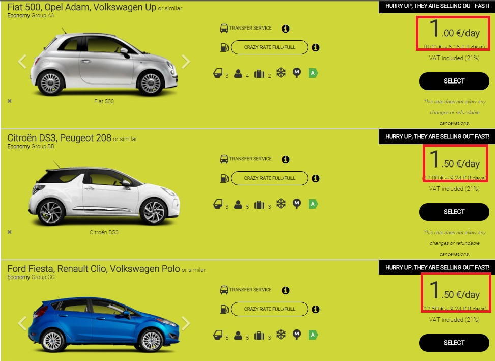 Оренда авто в Європі - приклади