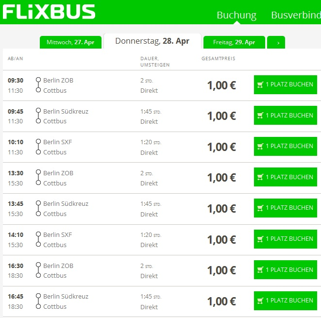 дешеві квитки на автобус з Берліна в Котбус