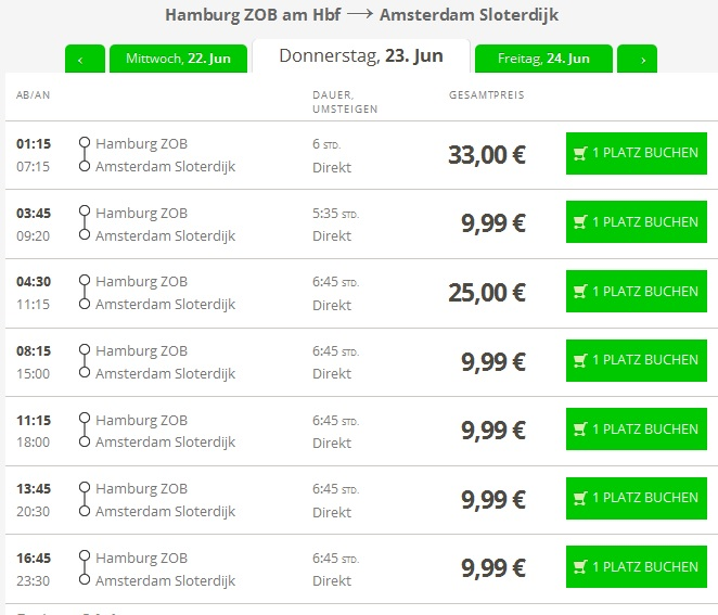 Автобусні квитки з Гамбурга до Амстердама