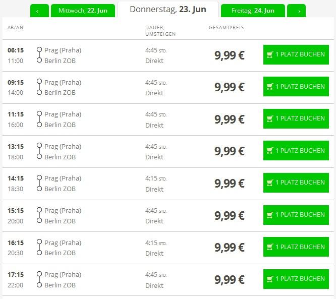 Автобусні квитки з Праги до Берліна